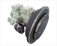 ダイレクトカップリングポンプ~川崎重工(KHI)製ピストンポンプ、KYB製ギヤポンプと自社設計のカップリングを組み合わせ、エンジンに直結を可能にしたポンプです。